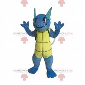 Mascota de tortuga azul con dientes y orejas puntiagudas -