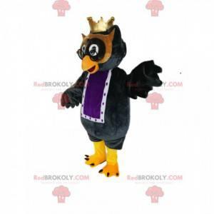 Maskot černá sova s malou zlatou korunou - Redbrokoly.com