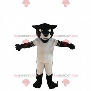 Agresivní černý panter maskot s sportovní oblečení -