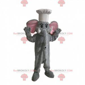 Šedý slon maskot s bílým kloboukem - Redbrokoly.com