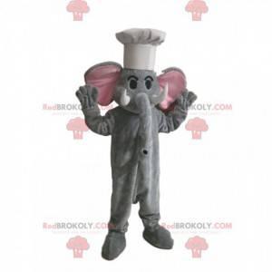 Grå elefant maskot med en hvid hat - Redbrokoly.com