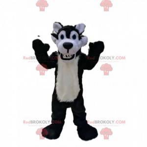 Zeer beestachtige zwart-witte wolfmascotte - Redbrokoly.com