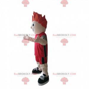 Mascotte sportiva con abbigliamento sportivo rosso -