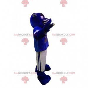 Maskot modrý panter s bílým a modrým sportovním oblečením -