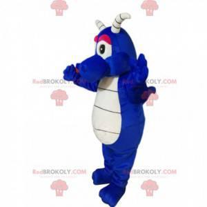 Ładny niebieski smok maskotka z białymi rogami - Redbrokoly.com