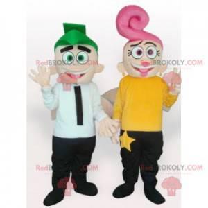 2 mascotte di uomo e donna con i capelli colorati -