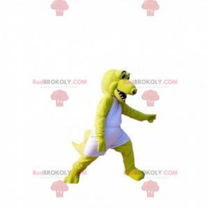 Neonově žlutý maskot krokodýla s bílým sportovním oblečením -