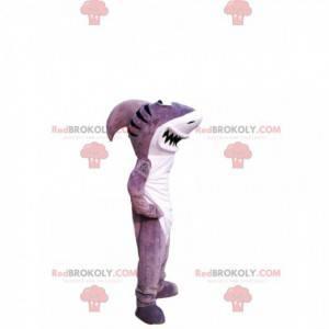 Mascotte squalo grigio e bianco con un grande sorriso -
