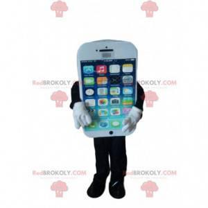 Maskot bílý chytrý telefon - Redbrokoly.com