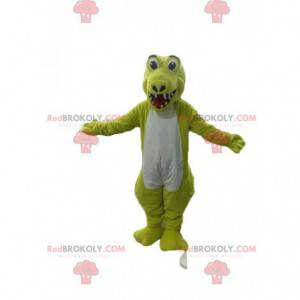 Mascote crocodilo amarelo e branco fluorescente muito feliz -