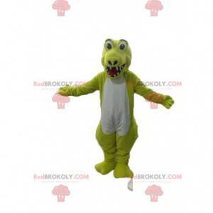 Meget glad fluorescerende gul og hvid krokodille maskot -