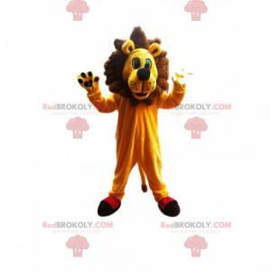 Sehr begeistertes Löwenmaskottchen mit einer hervorragenden