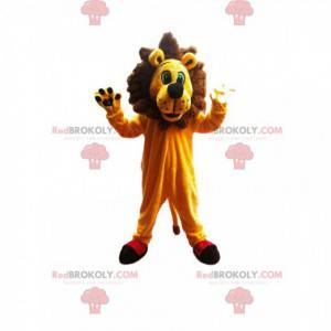 Very enthusiastic lion mascot with a superb mane! -