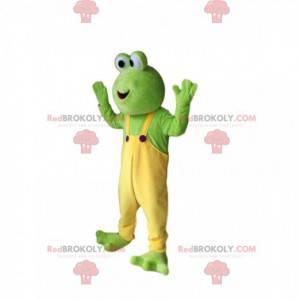 Mascote sapo verde engraçado com macacão amarelo -