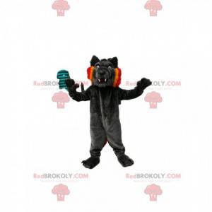 Maskot černý vlk s pěknými tesáky a krásným úsměvem -