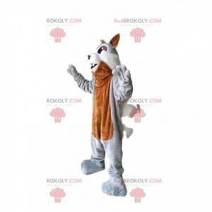 Mascotte scoiattolo marrone e grigio con occhi scintillanti! -