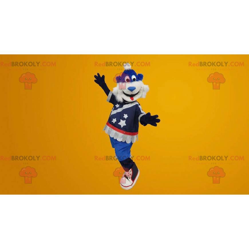 Blue and white teddy bear mascot - Redbrokoly.com