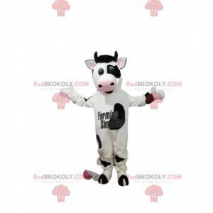 Maskot černé a bílé krávy se širokým úsměvem - Redbrokoly.com
