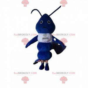 Mascot hormiga azul con una camiseta blanca - Redbrokoly.com