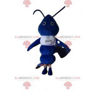 Maskottchen kleine blaue Ameise mit einem weißen Trikot -