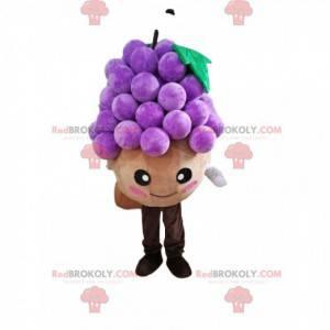 Mascot hombrecito redondo con un racimo de uvas - Redbrokoly.com
