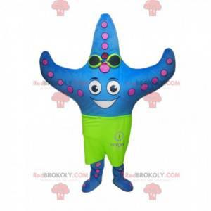 Mascote estrela do mar azul com calção de banho verde neon -