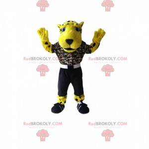 Beautiful leopard mascot with a camouflage jersey -