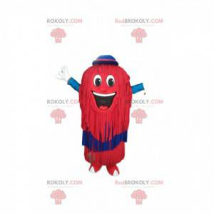 Red snowman mascot with fringes and a blue hat - Redbrokoly.com