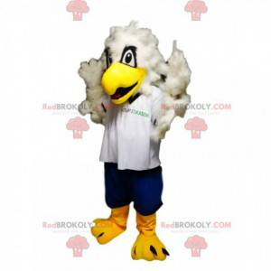 Golden eagle mascot with a white jersey and blue shorts -