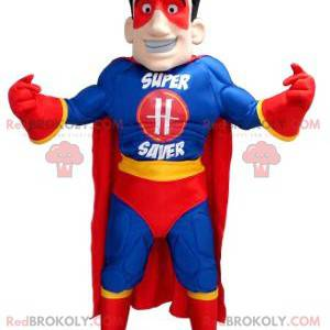 Superhero mascot in blue yellow and red outfit - Redbrokoly.com