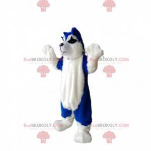 Blaues und weißes Hundemaskottchen - Redbrokoly.com