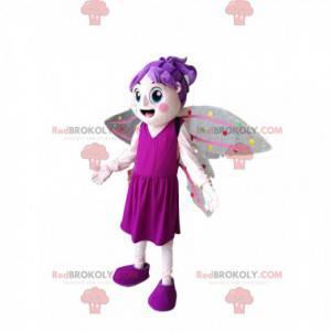 Feenmaskottchen mit lila Haaren und einem pinkfarbenen Kleid -