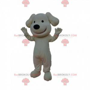 White dog mascot smiling with a cute black muzzle -