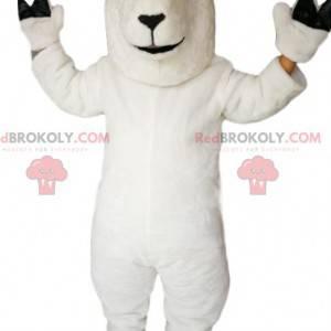 Mascote da ovelha branca sorridente - Redbrokoly.com