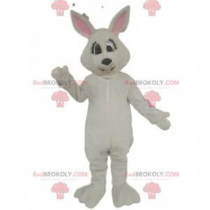 Maskotka biały królik mrużący oczy - Redbrokoly.com