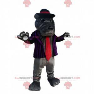 Szara maskotka Bull-dog z pasiastą marynarką i czerwonym