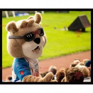 Maskotka niedźwiedź brunatny z okularami przeciwsłonecznymi -