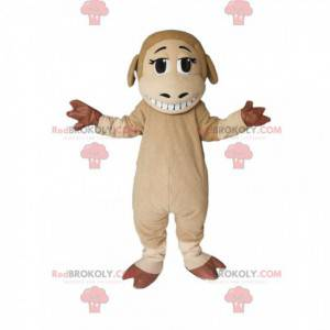 Mascote de ovelha bege e marrom com um lindo sorriso -