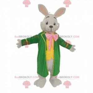 Maskot bílého králíka s velkou zelenou bundou - Redbrokoly.com