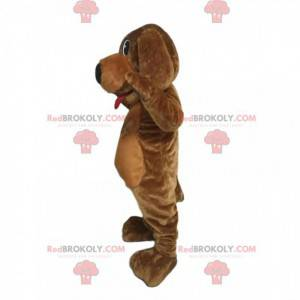 Brown dog mascot with a big black muzzle and a red tongue -