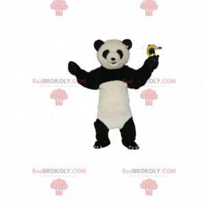 Mascote panda preto e branco muito feliz - Redbrokoly.com