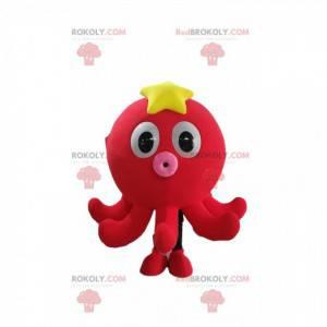Kleine rode octopus mascotte met een zeester op het hoofd -
