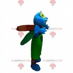 Modrá vážka maskot se zelenými kombinézami - Redbrokoly.com