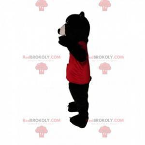 Brunbjørnemaskot med rød trøye - Redbrokoly.com