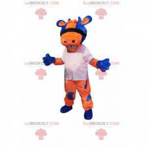 Oranžový a modrý kráva maskot s bílým dresem - Redbrokoly.com