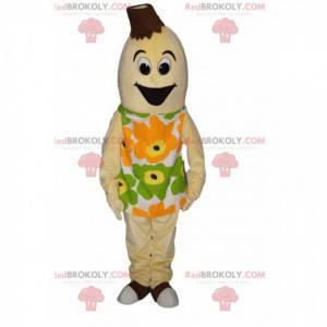 Mascotte banana molto felice con un vestito floreale -