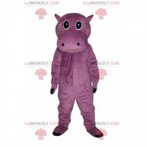 Mascote hipopótamo roxo muito fofo - Redbrokoly.com