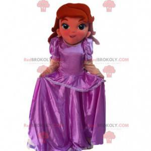 Prinsesse maskot med en lilla satin kjole - Redbrokoly.com