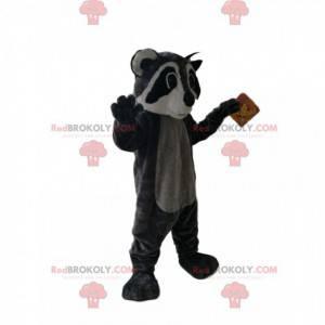 Mascote guaxinim preto e cinza - Redbrokoly.com