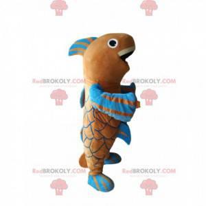 Very happy brown and blue fish mascot - Redbrokoly.com